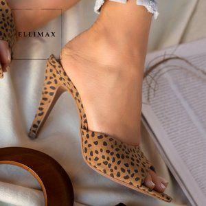 NEW🔥 Cheetah Peep Toe Slide Mule Sandal High Heel